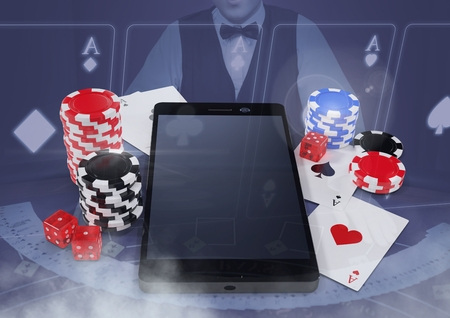 Digital composite of Phone with poker casino chips and playing cards  with croupier and copy space