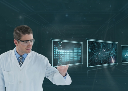 eyewear: Digital composite of Man doctor interacting with medical interfaces 3d