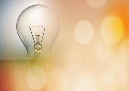 Digital composite of Light bulb and orange bokeh transition 3d