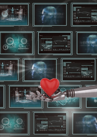 Digital composite of 3D robot hand holding a heart against background with medical interfaces Banco de Imagens - 81424469