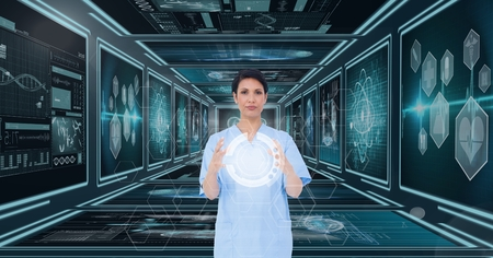 touch screen interface: Digital composite of Woman doctor interacting with 3d interfaces against background with medical interfaces Stock Photo