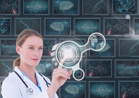 Digital composite of Woman doctor interacting with 3d interfaces against background with medical interfacesD