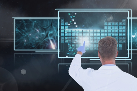 touch screen interface: Digital composite of Man doctor interacting with medical interfaces against 3d black background with flares