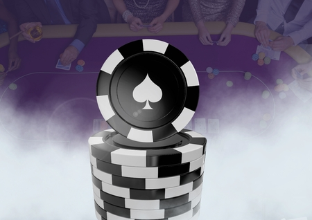 Digital composite of 3D Poker chips in front of people gambling in casino on table