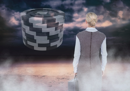 Digital composite of Back of Woman Looking at casino 3d poker chips
