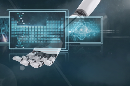 Digital Composite von 3D Roboter Hand interagieren mit medizinischen Schnittstellen Standard-Bild - 81424511