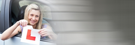 Digital composite of Woman In car holding L sign ripping with transition
