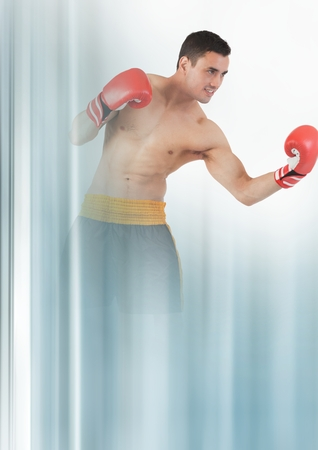 boxing day: Digital composite of Boxer fighter man with transition