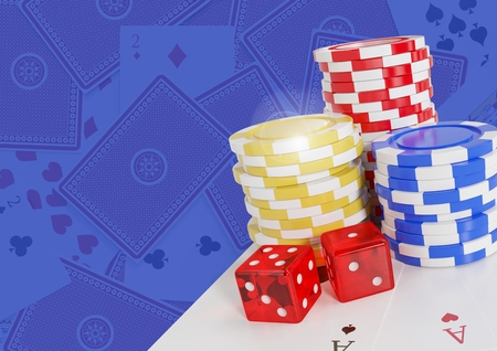 Digital composite of 3D Poker casino chips and dice and cards Stock Photo