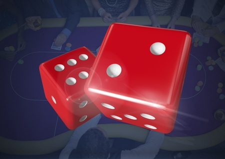3D Digital composite of Pair of dice over blue casino table background