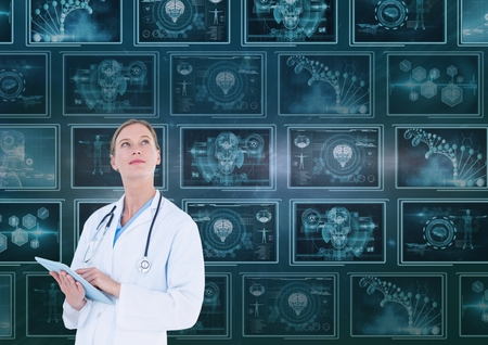 Digital composite of Woman doctor looking up against background with 3d medical interfaces