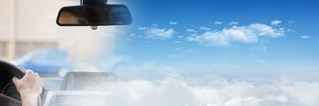Digital composite of Person In car  with transition