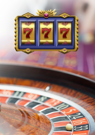 losing money: Digital composite of 3d Casino slot machine 7s in front of roulette Stock Photo