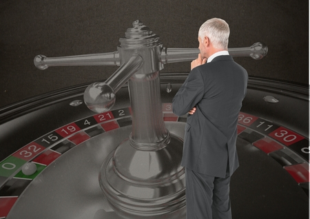 floorboards: Digital composite of Back of Man Looking at 3d casino roulette