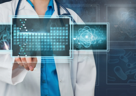 touch screen interface: Digital composite of Woman doctor interacting with 3D medical interfaces
