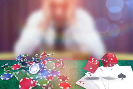 Composite 3D image of red dice against man betting his house at poker game Stock Photo