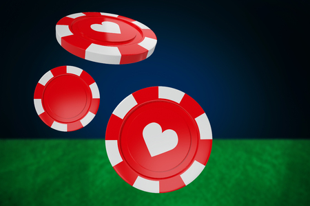 Vector 3D image of red casino token with hearts symbol against blue background with vignette