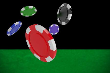 digital composite: Vector image of 3D gambling chips against black background