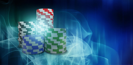 Digitally generated image of 3d gambling chips against blue glowing dots design pattern Stock Photo