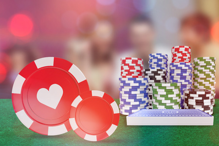 glamorous: Vector 3D image of red casino token with hearts symbol against winner and loser at roulette table