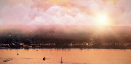 High angle view of cloudscape  against scenic view of hill by sea against sky Stok Fotoğraf