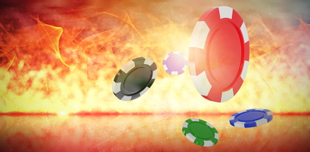 digital composite: Vector image of 3D gambling chips against glowing background Stock Photo