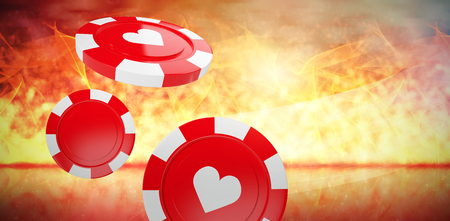 Vector 3D image of red casino token with hearts symbol against glowing background