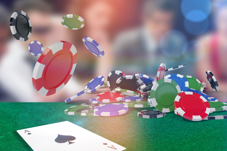 Vector image of 3D gambling chips against people around poker table Stock Photo
