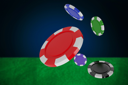 Vector image of 3D gambling chips against blue background with vignette 스톡 콘텐츠