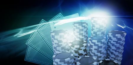 Computer generated 3D image of gambling chips against glowing abstract design