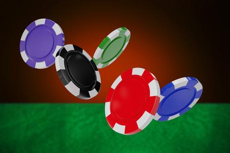 Illustration of 3D gambling chips against orange background with vignette Stock Photo