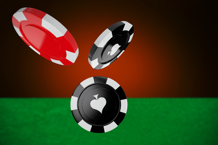 3D image of red casino token against orange background with vignette