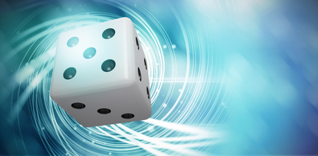 Digitally generated image of 3D dice against background with shiny spiral Stock Photo