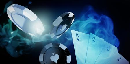 ビネットで青い背景に赤のカジノ トークンの 3 D 画像