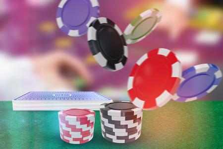 Illustration of 3D gambling chips against man playing blackjack Stock Photo