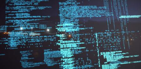 Composiet 3D beeld van binaire codes tegen verlichte straten licht 's nachts Stockfoto