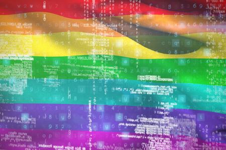 3D image of data against rainbow flag