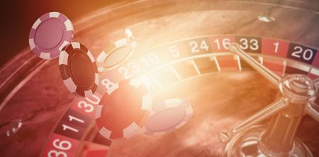 Illustration of 3D gambling chips against orange background with vignette Фото со стока