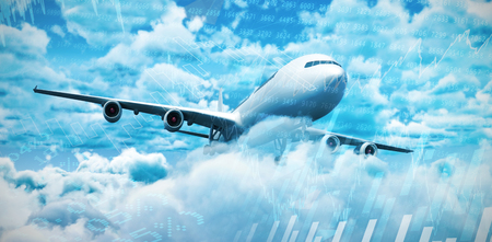 stockmarket: 3D graphic airplane against stocks and shares Stock Photo
