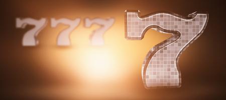 composite image: Composite image of 3D number seven against orange background with vignette