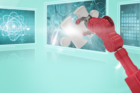 Cropped of 3D red robotic hand holding puzzle piece against composite image of different interface Stock Photo - 81406590