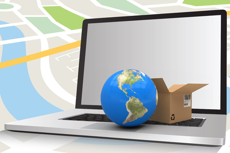 composite image: 3D image of globe with brown courier box against composite image of laptop against navigation map