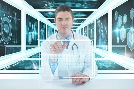 Doctor using digital 3D tablet against white background against white background with vignette Stock Photo