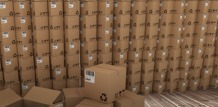 empty warehouse: Stack of cardboard boxes against room with wooden floor