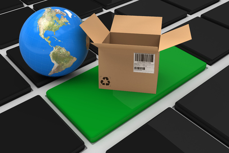 3D image of globe with open cardboard box against black keyboard with green key