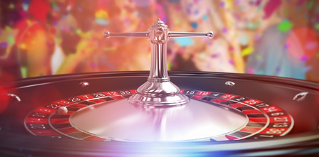 man looking out: Group of friends having glass of cocktail in bar against close up image of 3d roulette wheel Stock Photo