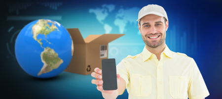 reliable: Handsome delivery man showing 3D mobile phone against illustration of various diagrams and graphs Stock Photo