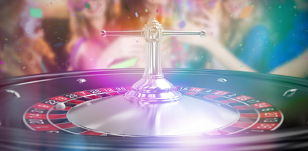 Group of friends toasting glass of champagne against close up image of 3d roulette wheel