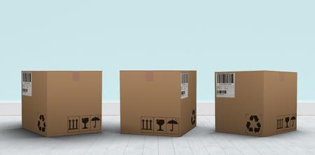 single dwellings: Digital 3D image of brown parcel against blue wall by hardwood floor