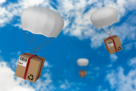 3D image of parachute carrying cardboard box against view of beautiful sky and clouds Stock Photo